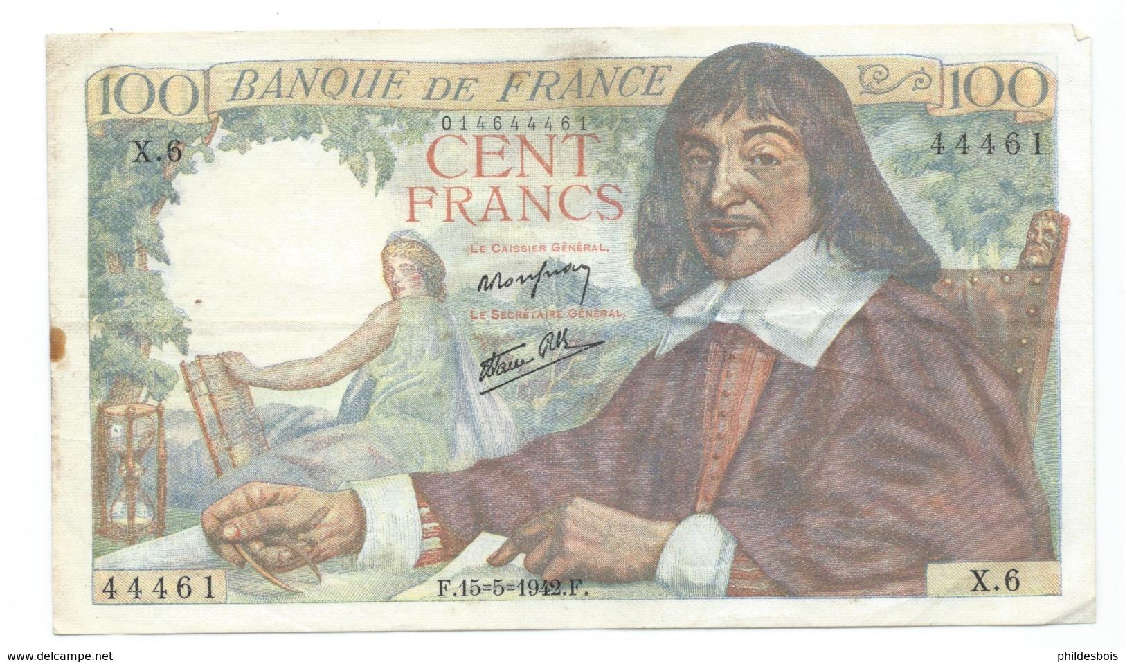 BILLET  100 Francs DESCARTES 15/05/1942  ( 2trous épingle ) - 1871-1952 Anciens Francs Circulés Au XXème