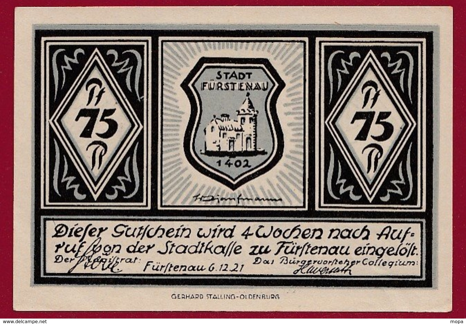 Allemagne 1 Notgeld 75 Pfenning  Stadt Fürstenau  (RARE -SERIE COMPLETE)  Dans L 'état Lot N °5035 - Collections