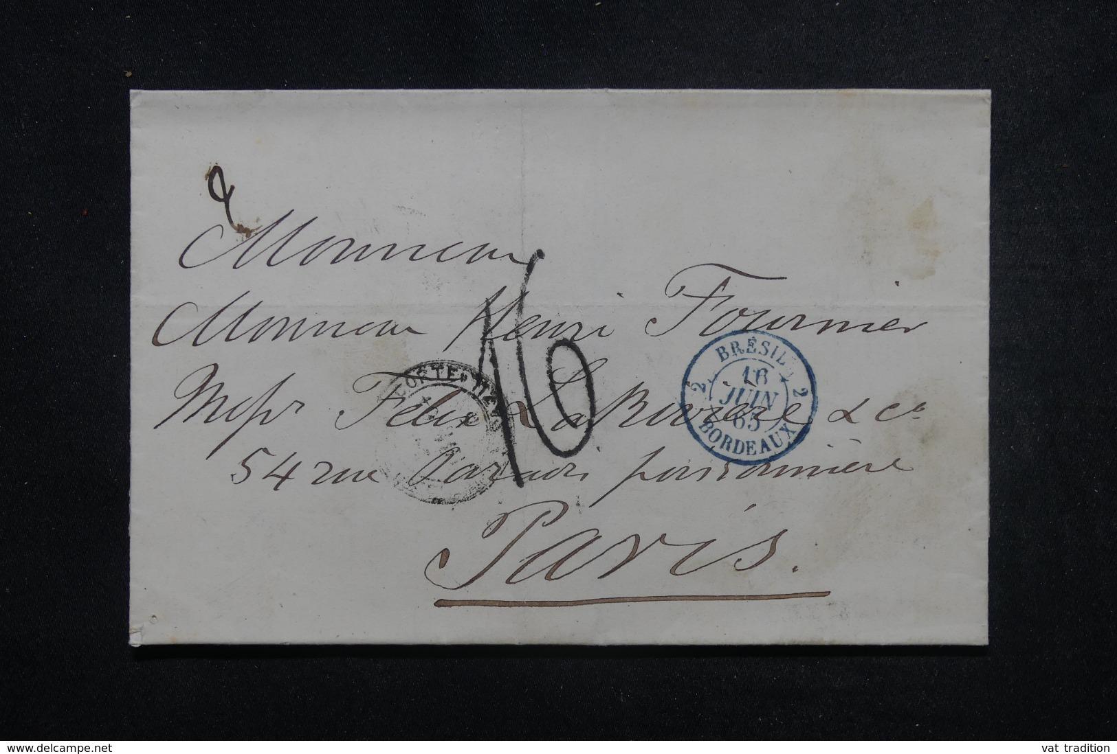 """FRANCE - Oblitération En Bleu """" Brésil 2 Bordeaux """" En 1865 Sur Lettre De Rio De Janeiro Pour Paris - 45640 - Marcophilie (Lettres)"""