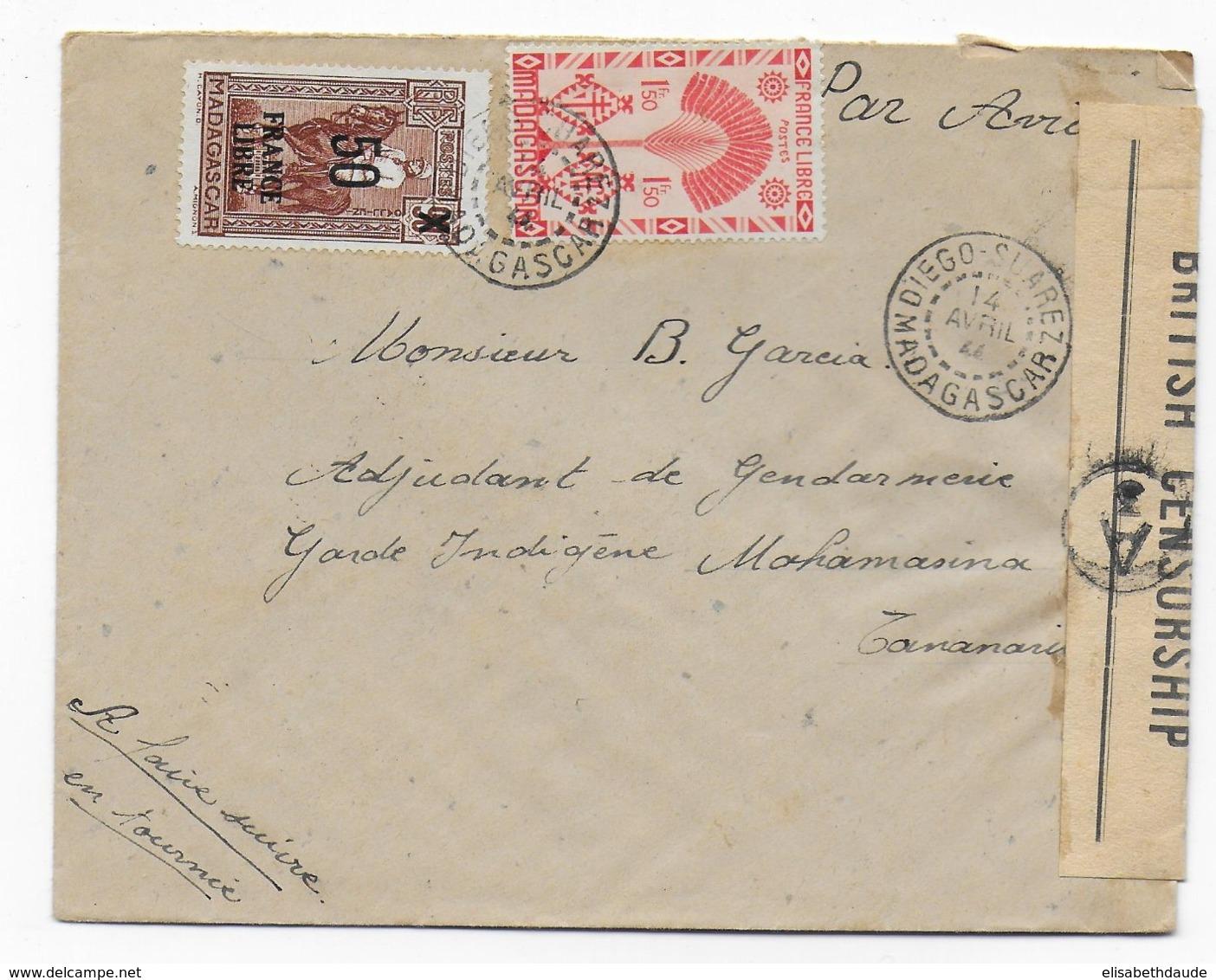 MADAGASCAR - 1944 - SERIE DE LONDRES + FRANCE LIBRE - LETTRE Avec CENSURE ANGLAISE De DIEGO-SUAREZ - Covers & Documents