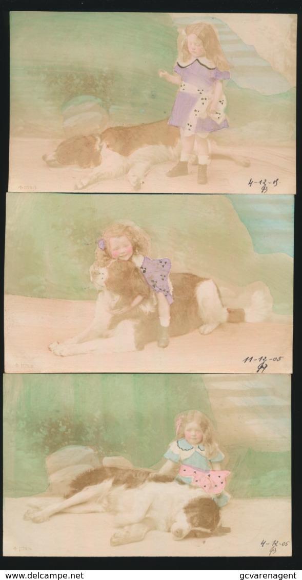 6 KAARTEN - MEISJE MET HOND -  CARTE PHOTO  FOTOKAART  2 SCANS - Enfants