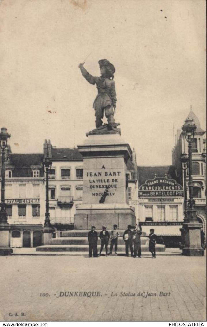 Guerre 14 Cachet Train Sanitaire Semi Permanent N°21 P.L.M. CPA Dunkerque Statue Jean Bart SP15  FM - Guerre De 1914-18