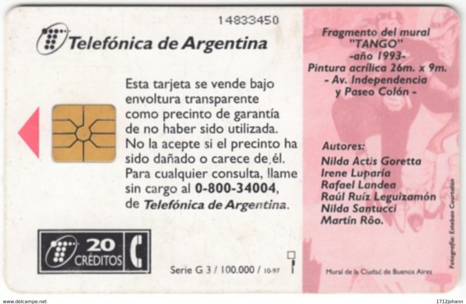ARGENTINIA A-321 Chip Telefonica - Painting, Traditional Dance, Tango - Used - Argentinien