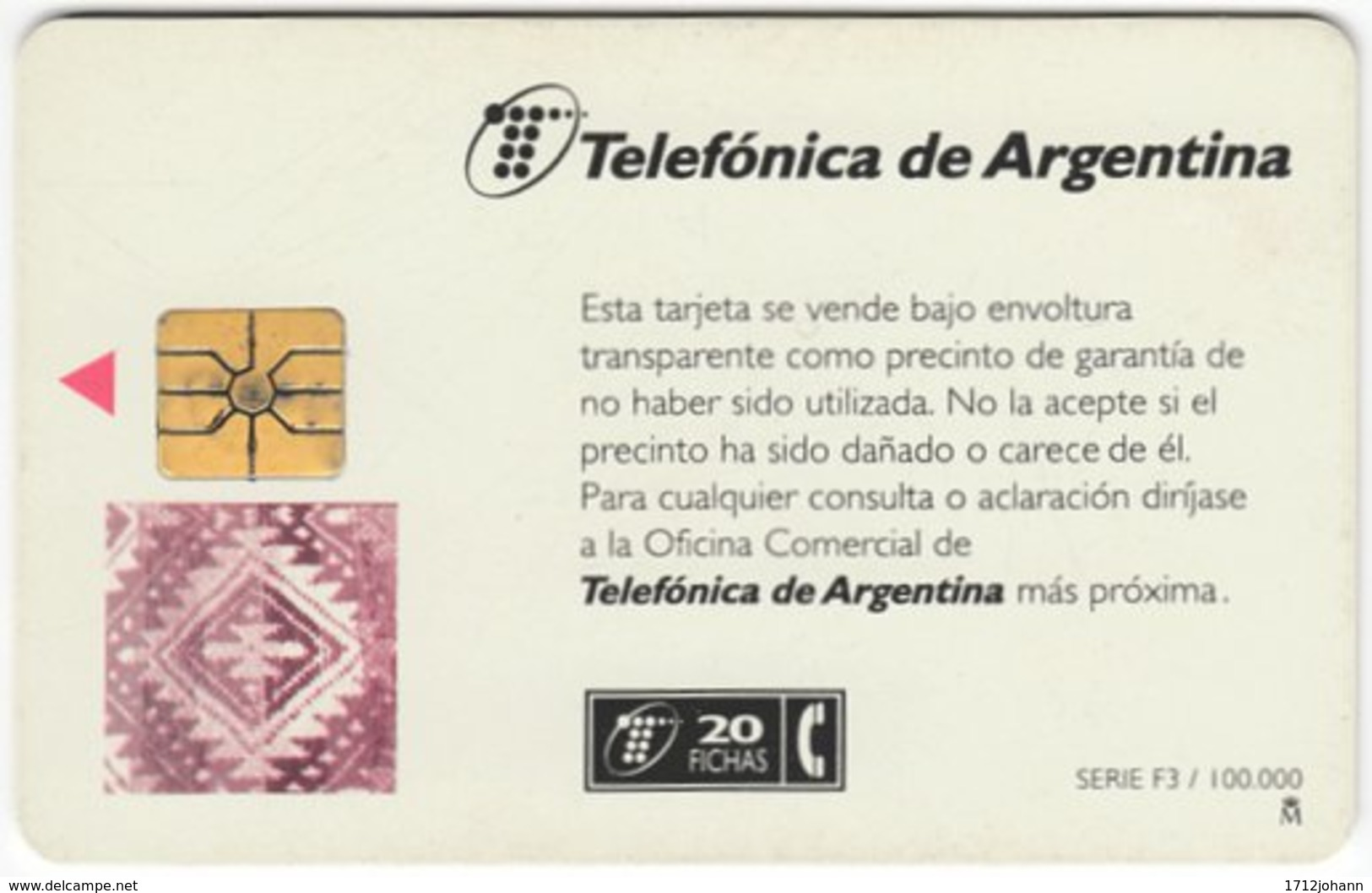 ARGENTINIA A-326 Chip Telefonica - Used - Argentina