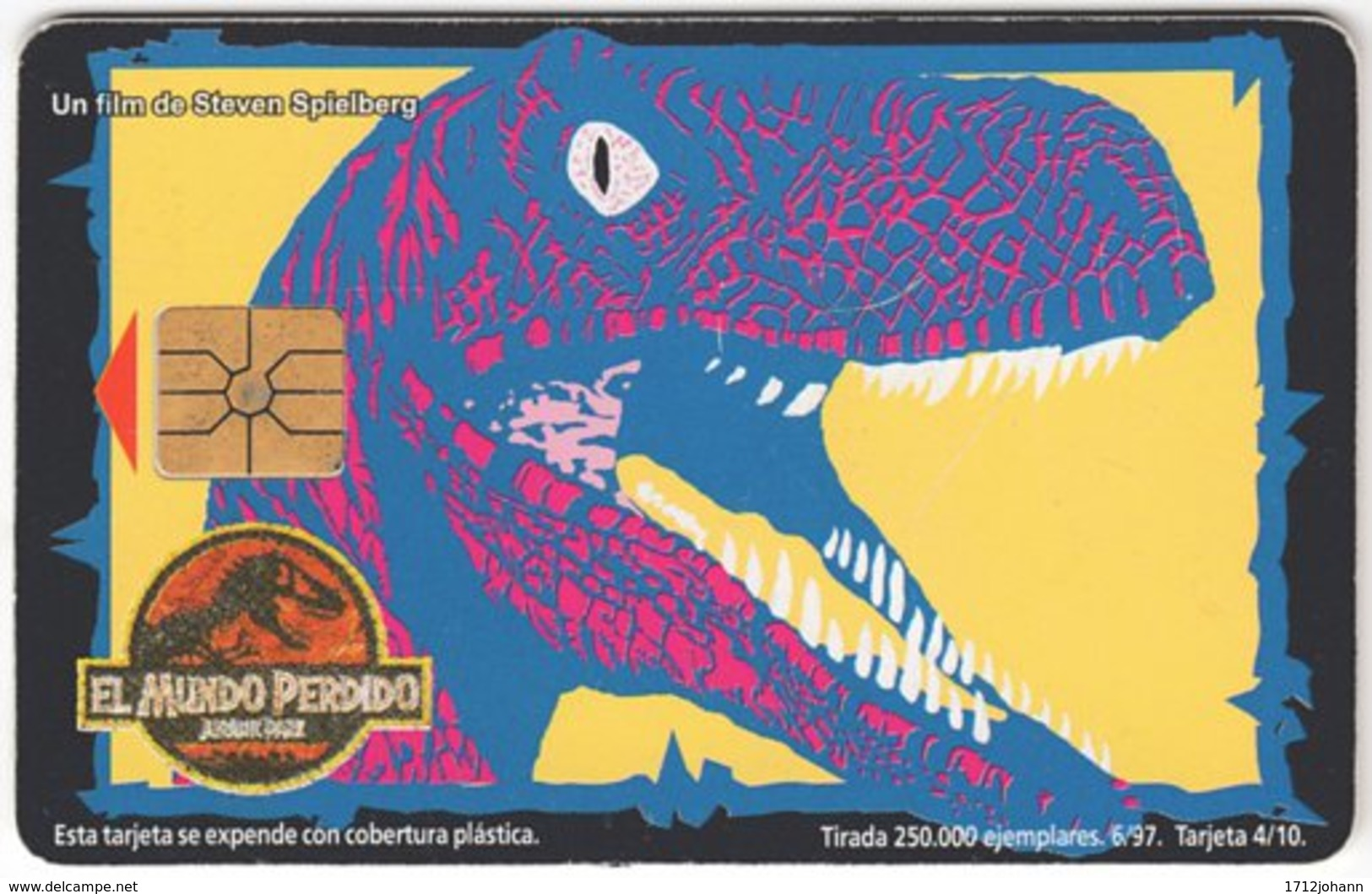 ARGENTINIA A-345 Chip Telecom - Cinema, The Lost World / Prehistoric Animal, Dinosaur - Used - Argentinien