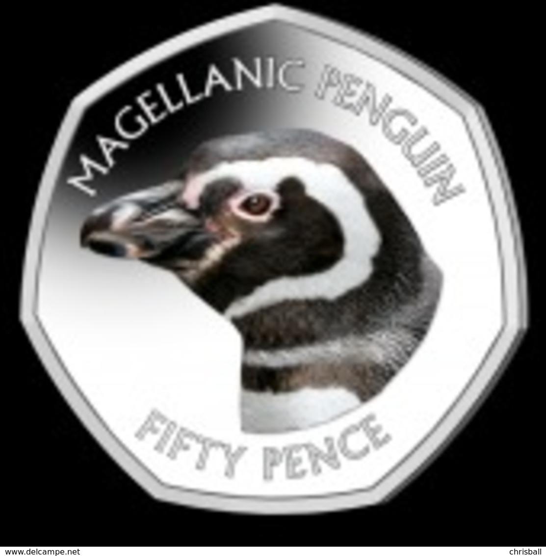 Falkland Islands 50p Coin Magellanic Penguin Diamond Finish Uncirculated - Falkland Islands