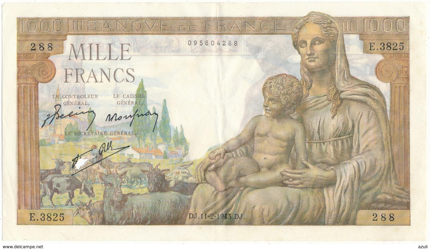 1000 F Commerce Et Industrie - DJ 11/2/1943 - E.3825/288 - 1871-1952 Frühe Francs Des 20. Jh.