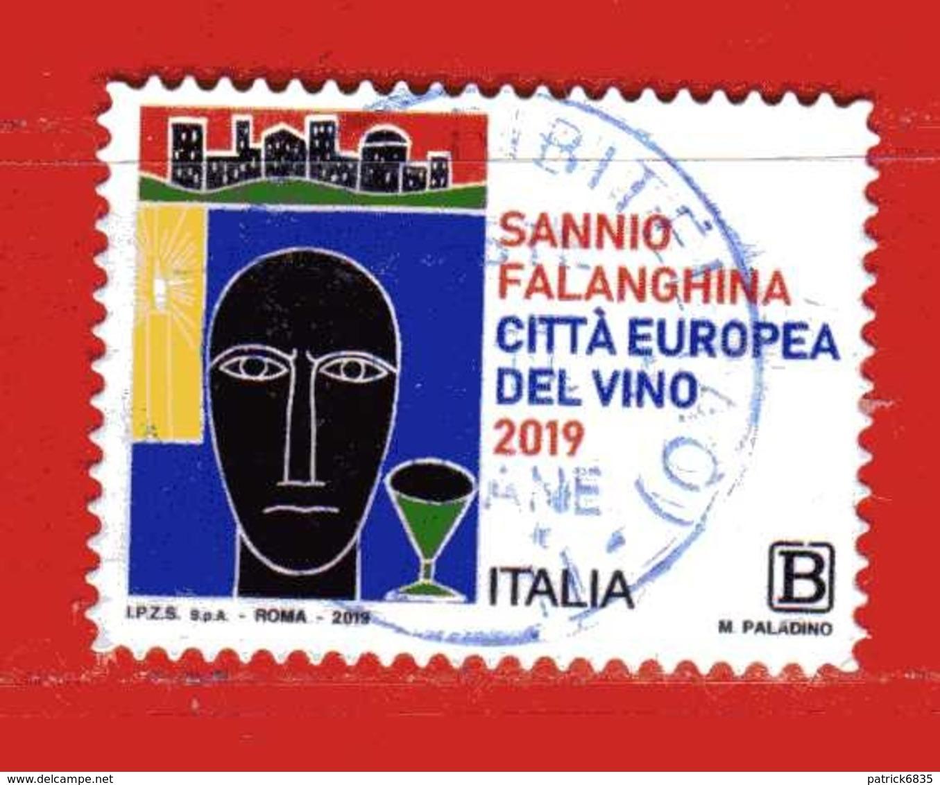 Italia °- 2019 - SANNIO FALANGINA, Città Europea De VINO.  Usato - 6. 1946-.. Repubblica
