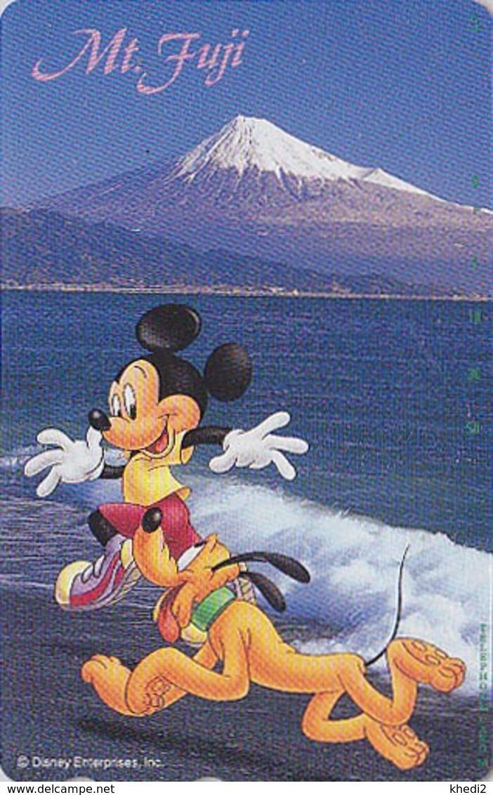 Télécarte Japon / 110-178075 - DISNEY  Série Voyage N° 9 - SHIZUOKA - MICKEY MONT FUJI & PLUTO Chien Dog Japan Phonecard - Disney