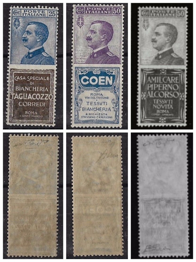 ITALIA REGNO - 3 PUBBLICITARI DI FRESCHEZZA E CENTRATURA ECCEZIONALI - NUOVI ** - 1900-44 Vittorio Emanuele III