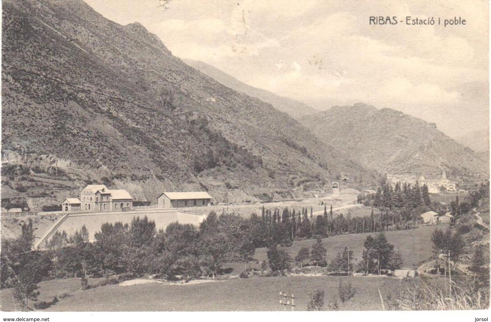 POSTAL   RIBAS DE FRESER  -GIRONA  -ESTACION Y PUEBLO - Spain