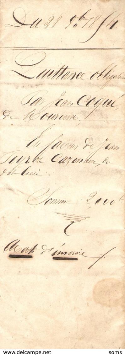 Vieux Papier Du Béarn, 1854, Quittance De Jean Coqué, De Mourenx à Jean Peyron Cazenave, De Noguères - Historische Documenten