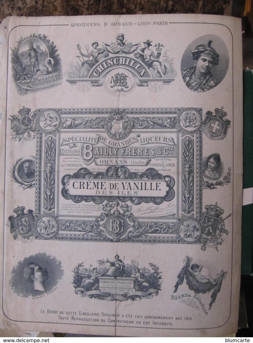 Publicité Papier - DISTILLERIE BAILLY à ORNANS - CREME DE VANILLE - Format : 21 X 27 Cm - 1800 – 1899