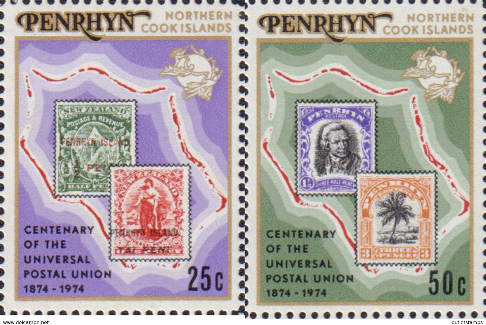 Ref. 54872 * NEW *  - PENRHYN . 1974. CENTENARY OF UNIVERSAL POSTAL UNION. CENTENARIO DE LA UNION POSTAL UNIVERSAL - Penrhyn