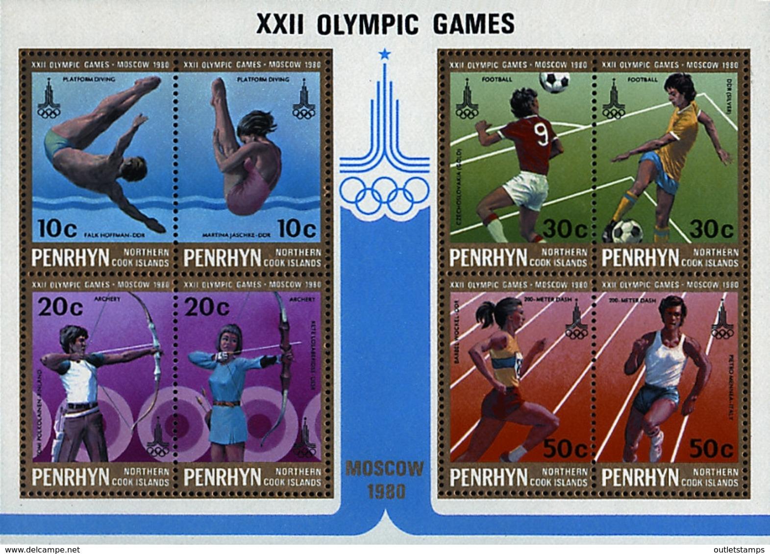Ref. 54986 * NEW *  - PENRHYN . 1980. GAMES OF THE XXII OLYMPIAD. MOSCOW 1980. 22 JUEGOS OLIMPICOS VERANO MOSCU 1980 - Penrhyn