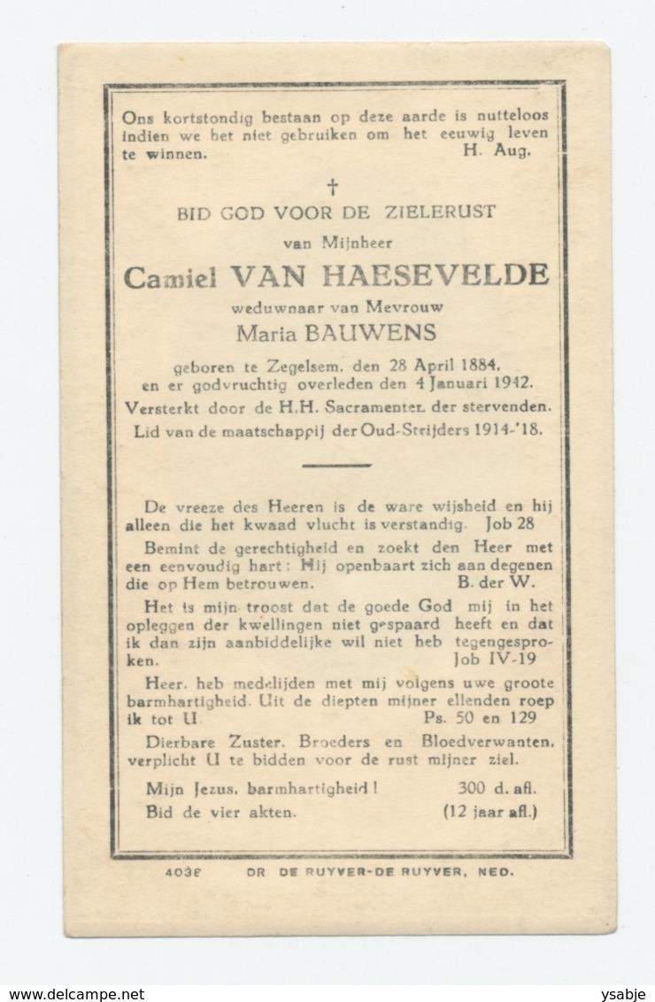 Bidprentje Camiel Van Haesevelde (1884-1942 Zegelsem) - Images Religieuses
