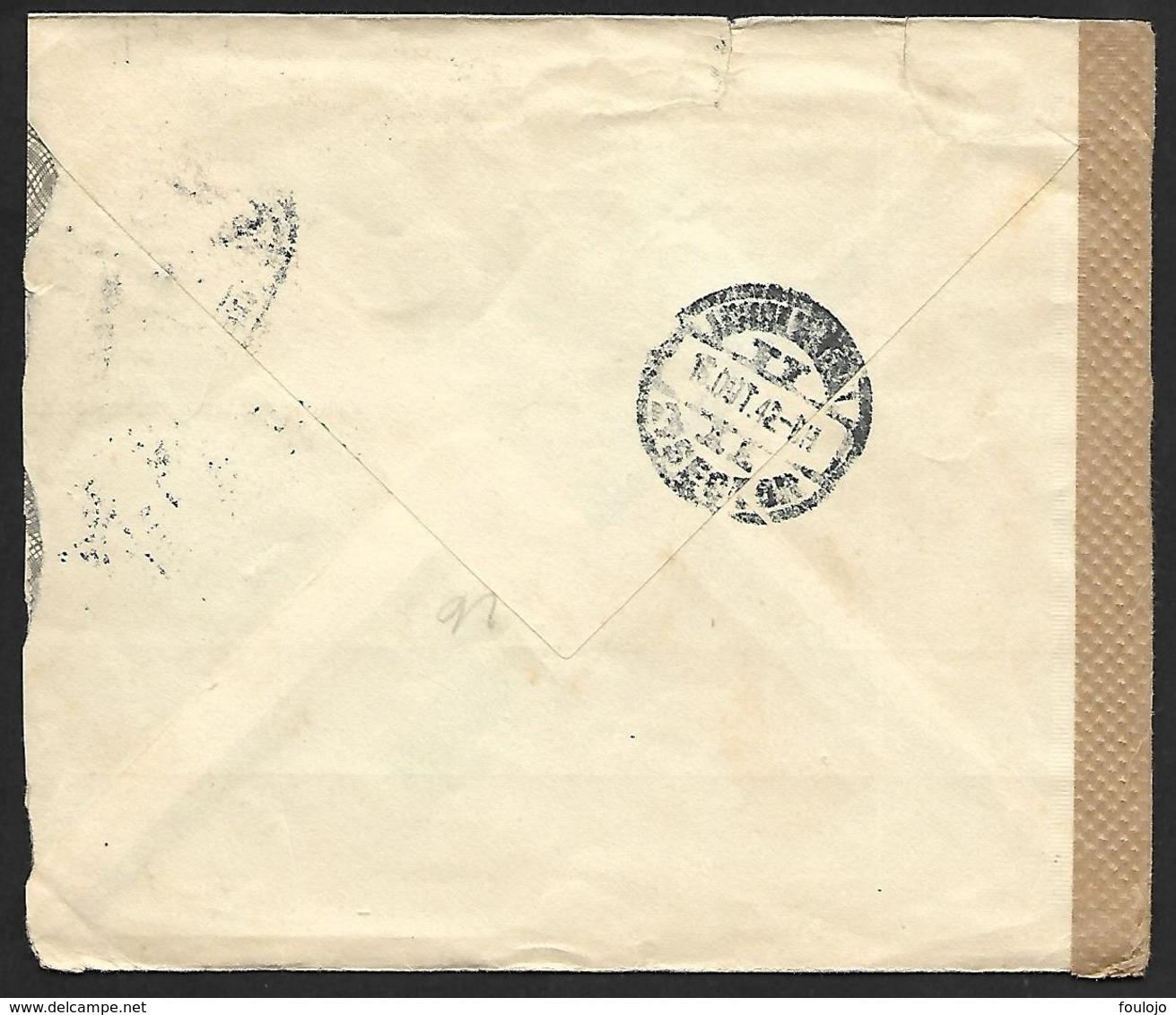 N° 543B Sur Lettre Obl. AMBULANCIAS AVENIDA GARE Du 14-OUT-42 Vers Spa Bande GEÖFFNET (Lot Nic 827) - Postmark Collection
