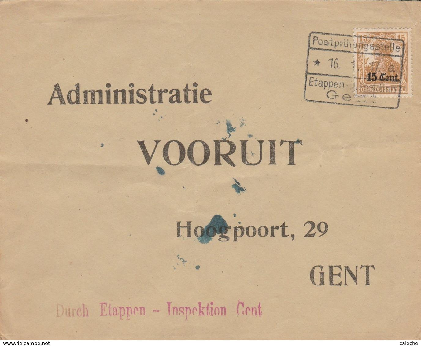 """Etappen Gent / Venant De Kortrijk - Verso Grand Sceau +griffe """" Geprüft Zur Beforderung Geschlossen Zug..... - WW I"""