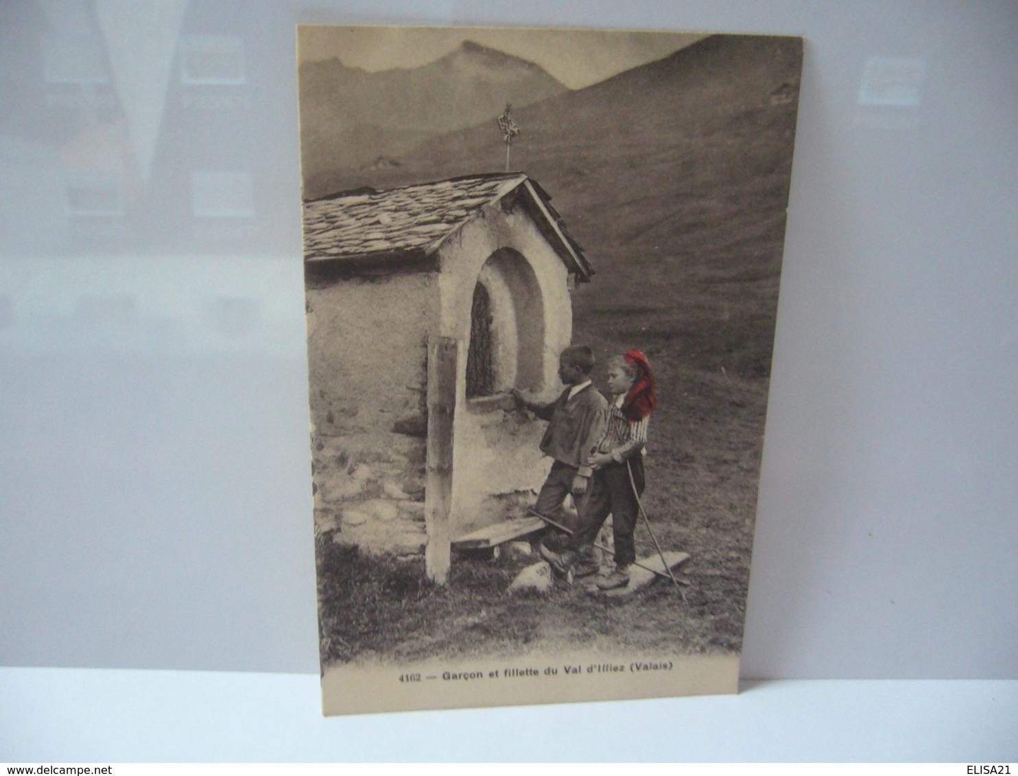 GARÇON ET FILLETTE DU VAL D'ILLIEZ  SUISSE VALAIS  CPA 1913 - VS Valais