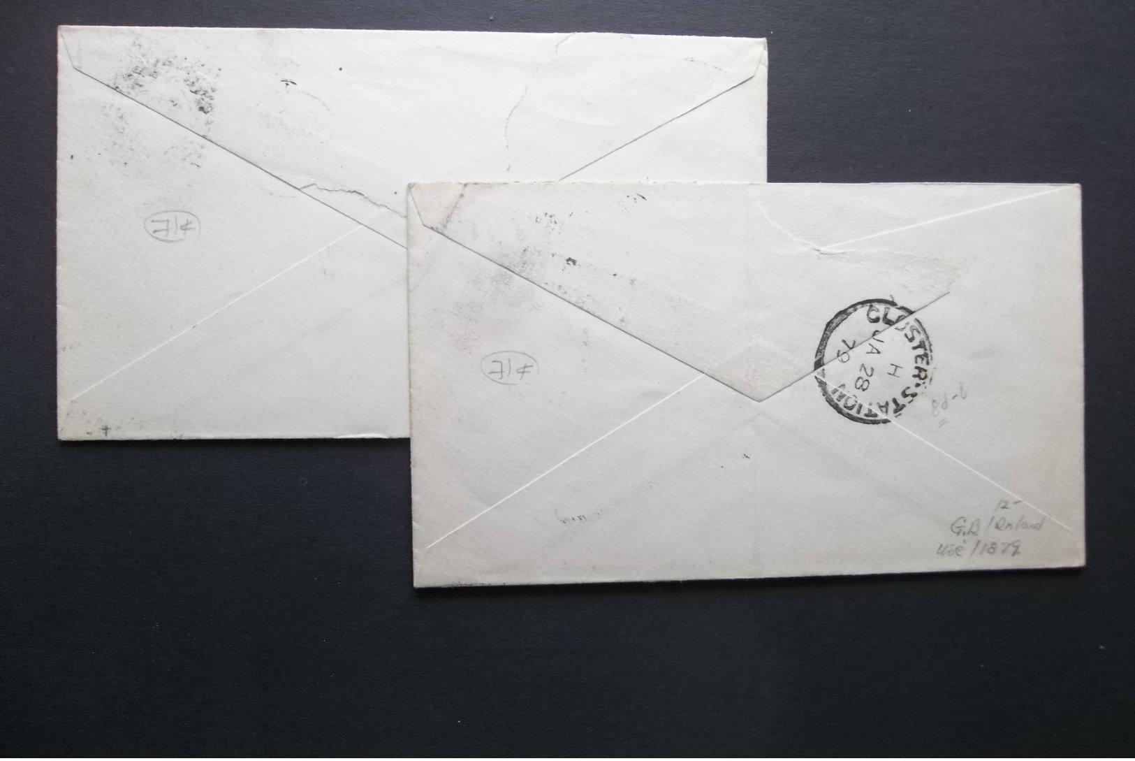 Great Britain: 1878 & 1879 Postal Envelopes To Glocestor, Etc.-Flap Faulty (#RU3) - Entiers Postaux