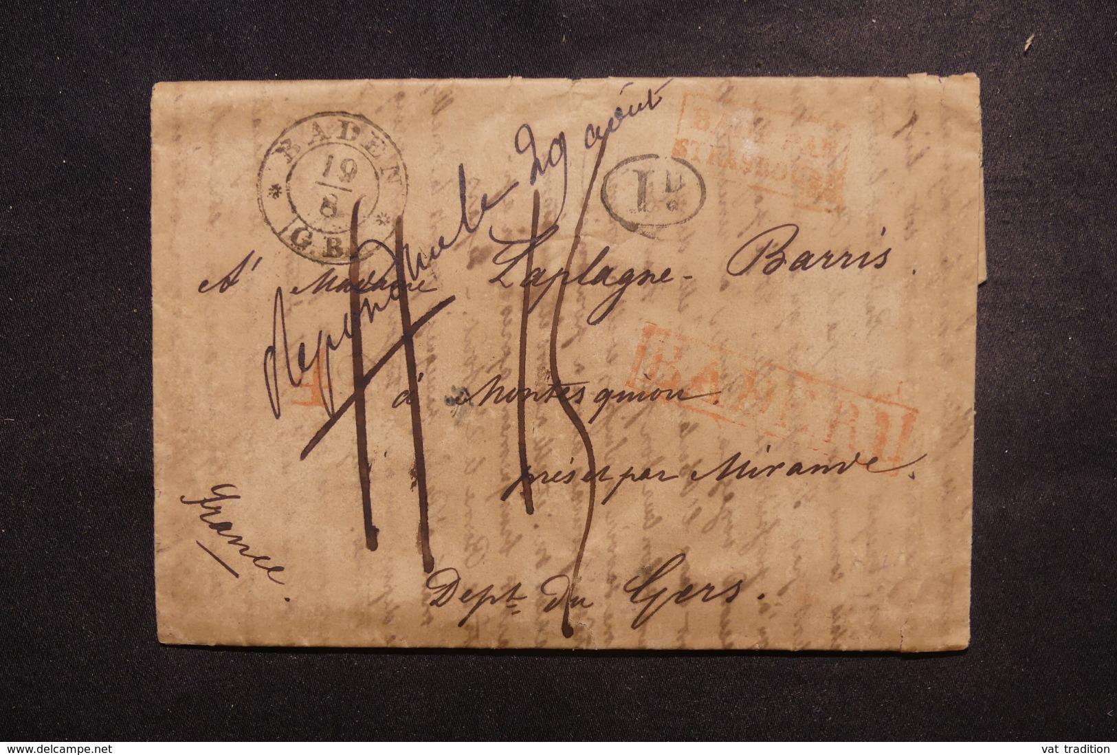 "FRANCE / ALLEMAGNE- Cachet D'entrée "" Bade Par Strasbourg "" En Rouge Sur Lettre De Baden  - L 45753 - Storia Postale"