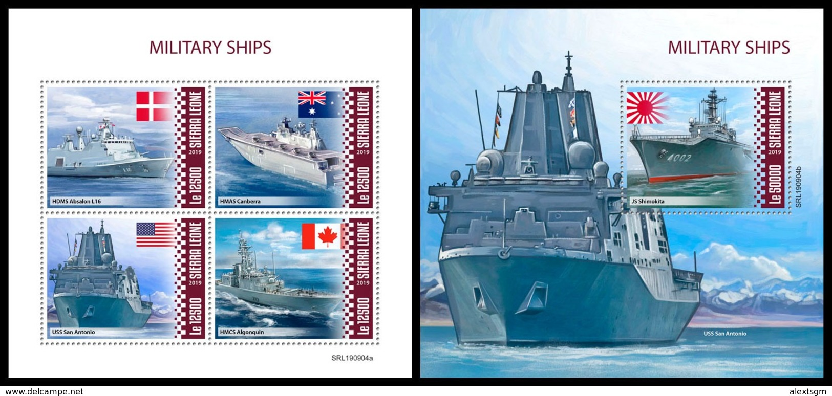 SIERRA LEONE 2019 - Military Ships. M/S + S/S Official Issue [SL190904] - Ships