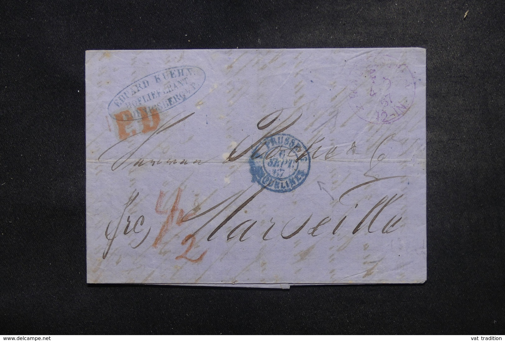 """FRANCE / ALLEMAGNE - Cachet D'entrée """" Prusse / Erquelines 3 """" En Bleu Sur Lettre En 1867 - L 45776 - Marques D'entrées"""