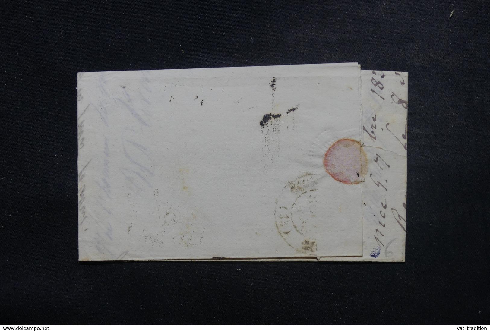 """FRANCE / ITALIE - Cachet D'entrée """" Italie Par Antibes """" Sur Lettre De Nice Pour Adge En 1834 - L 45780 - Marcofilia (sobres)"""