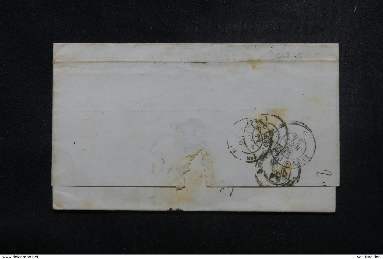 """FRANCE / ITALIE - Cachet D'entrée """" E. Pont. / Pont De B.""""  En Rouge Sur Lettre De Rome En 1854 - L 45786 - Marques D'entrées"""