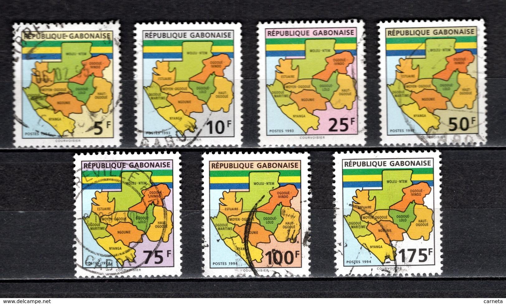 GABON  N° 781A à 791G  OBLITERES  COTE 28.00€  CARTE DU GABON - Gabon (1960-...)
