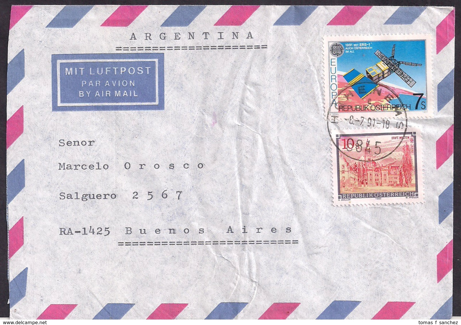 Österreich - 1991 - Brief -> Argentinien - 1991-00 Briefe U. Dokumente