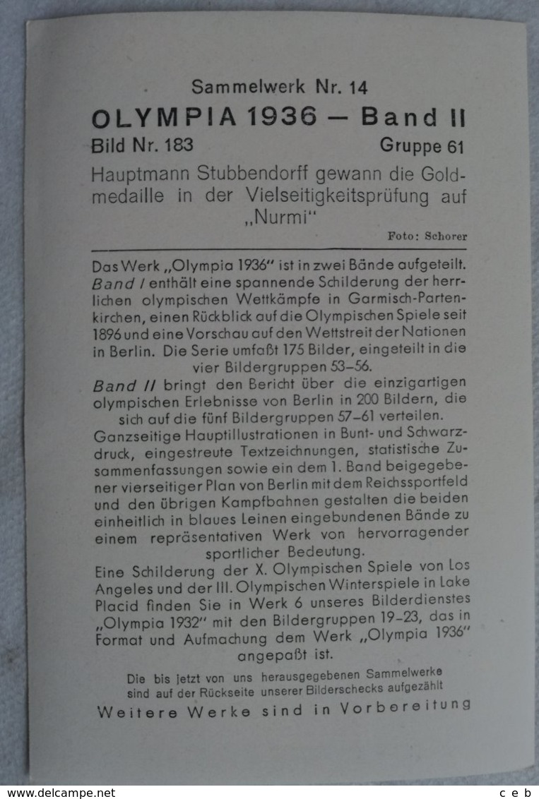 Foto Cromo Olimpiada De Berlín. Nº 183. Equitación Salto. Hauptmann Stubbendorff. 1936. Alemania. Pre II Guerra Mundial. - Tarjetas