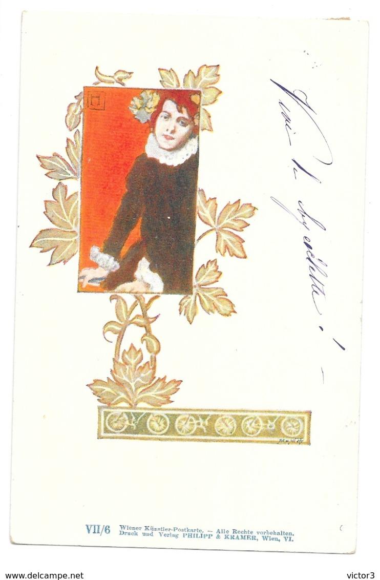 CPA ART NOUVEAU PHILIPP & KRAMER SERIE VII 6 HAMPEL CYCLISTE - Autres Illustrateurs