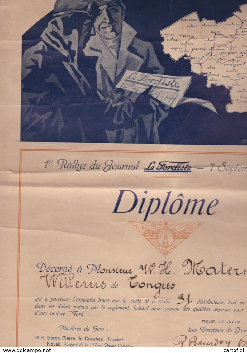 AALST-RALLYE-FORD-GARAGE-AUTO-CONTROLE D'ALOST-1924-RALLYE DU JOURNAL LE FORDISTE+DIPLOME-TOP+ZELDZAAM-ZIE DE 5 SCANS - Aalst