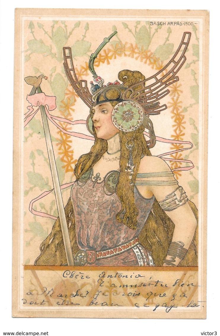 CPA ARPAD BASCH FEMMES GUERRIERES ART NOUVEAU - Autres Illustrateurs