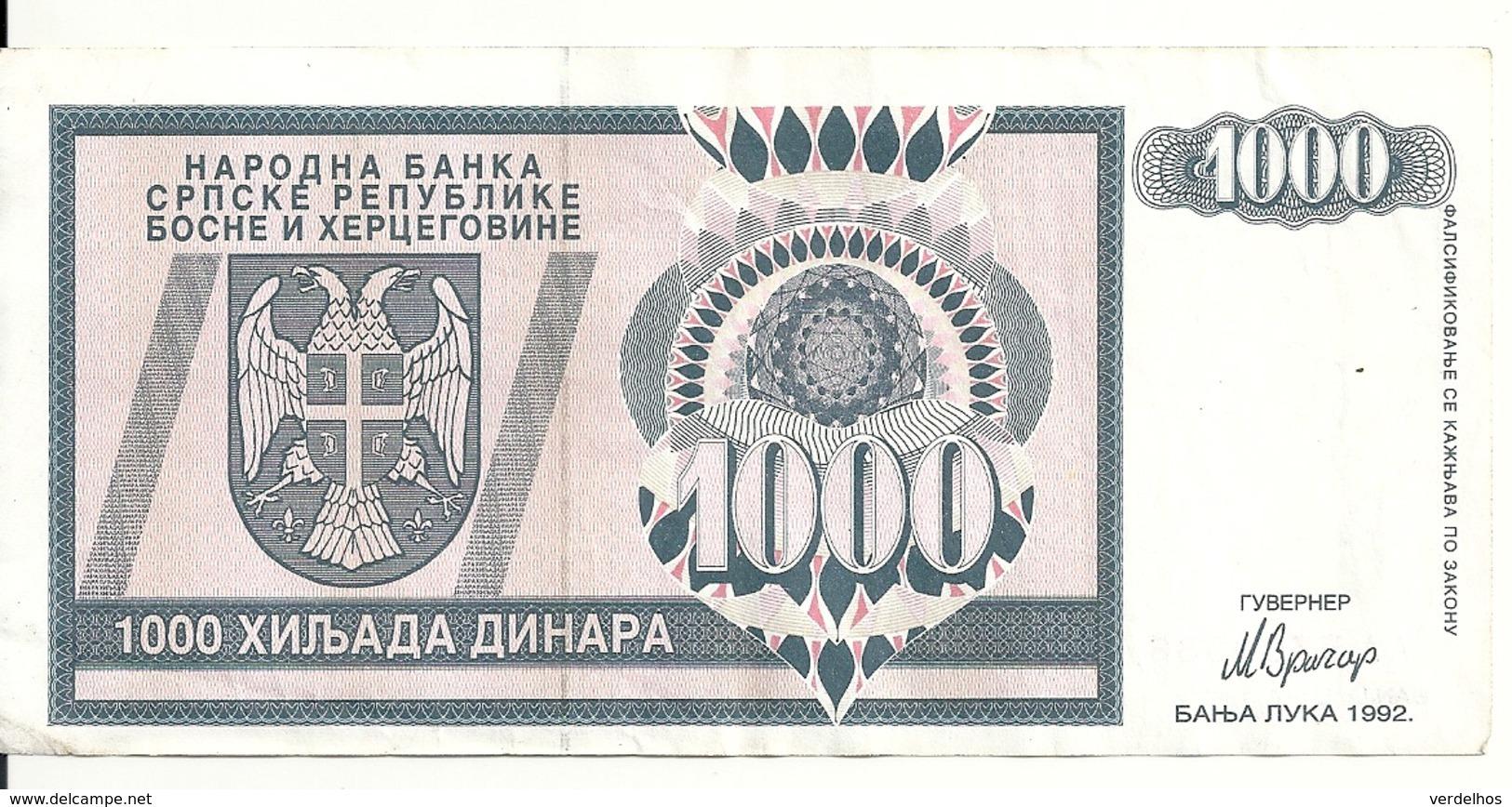 BOSNIE HERZEGOVINE 1000 DINARA 1992 VF P 137 - Bosnia Erzegovina