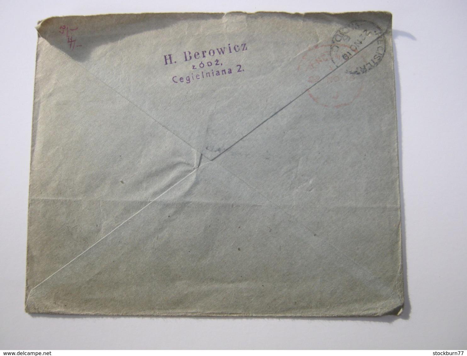 1919 , Einschreiben Aus LODZ Nach London - ....-1919 Provisional Government