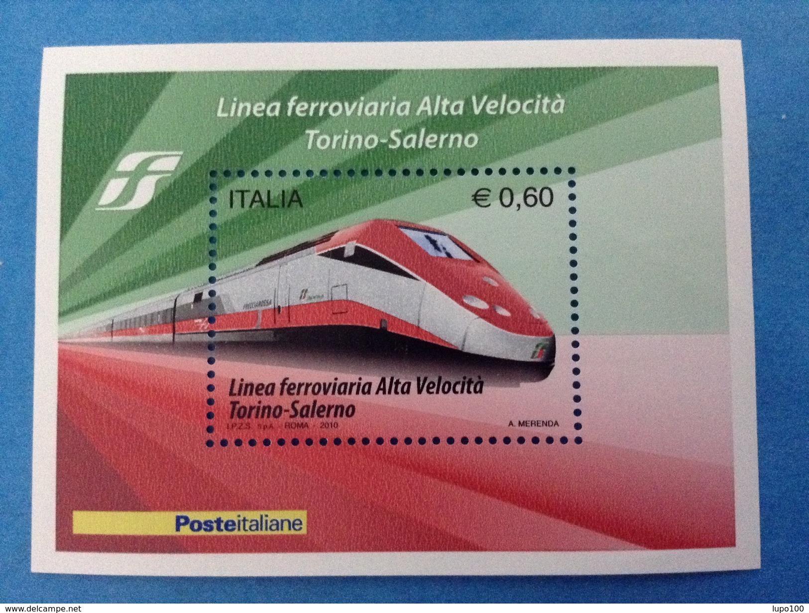 2010 ITALIA FOGLIETTO NUOVO SOUVENIR SHEET MNH** LINEA FERROVIARIA ALTA VELOCITA' TRENO FRECCIAROSSA - 6. 1946-.. Repubblica