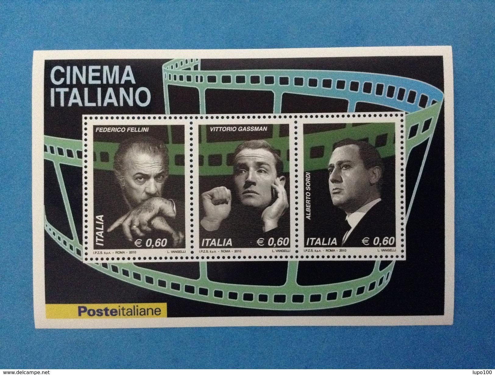 2010 ITALIA FOGLIETTO NUOVO SOUVENIR SHEET MNH** CINEMA OMAGGIO A FELLINI GASSMAN SORDI - Blocchi & Foglietti