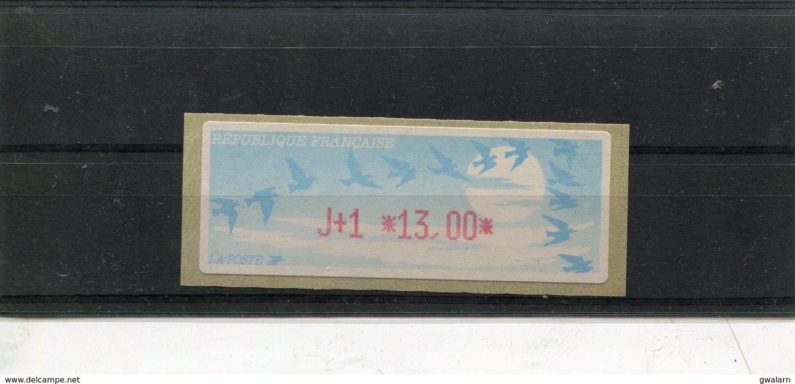 France 1 Vignette Distributeur Type C LISA  N°YT 215 - J+1 13,00 - 1990 Type «Oiseaux De Jubert»