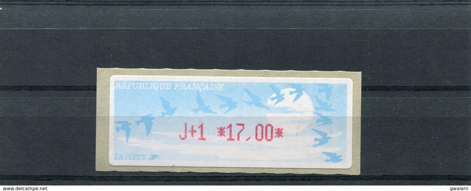 France 1 Vignette Distributeur Type C LISA  N°YT 216 - J+1 17,00 - 1990 «Oiseaux De Jubert»