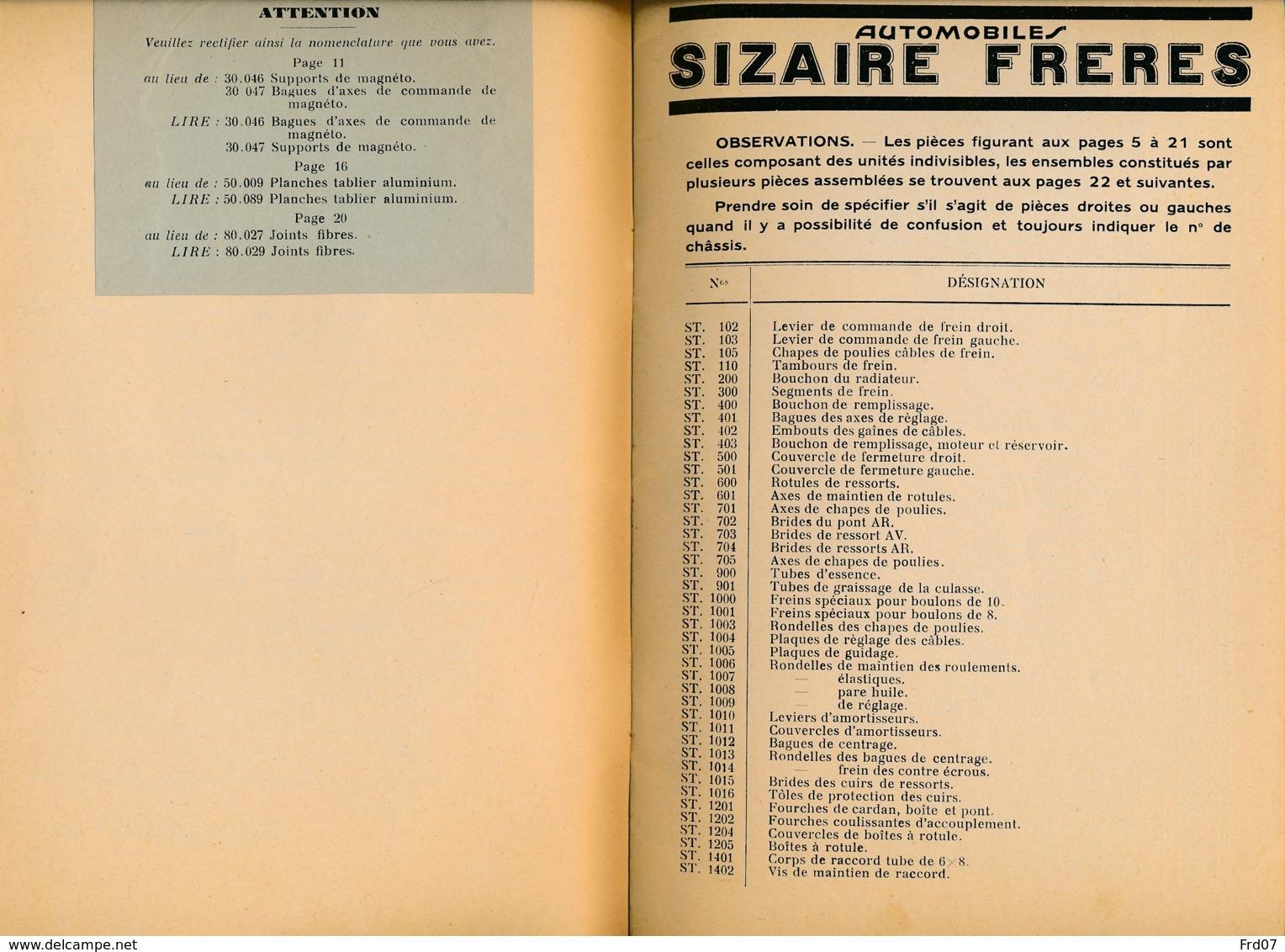Automobiles Sizaire Frères – Courbevoie Seine / Nomenclature Du Chassis 12 CV Type 4 RI - Auto