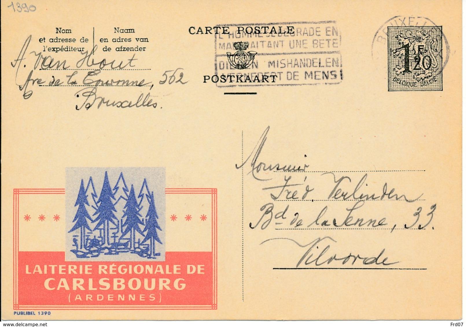 Publibel 1390 – Laiterie Régionale De Carlsbourg Ardennes - Stamped Stationery