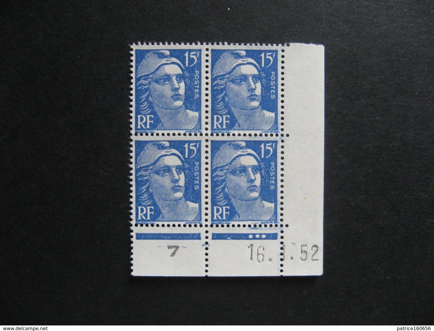 Bloc De 4 Coin Daté:  16.01.1952 Du N° 886, Neuf XX . - 1950-1959