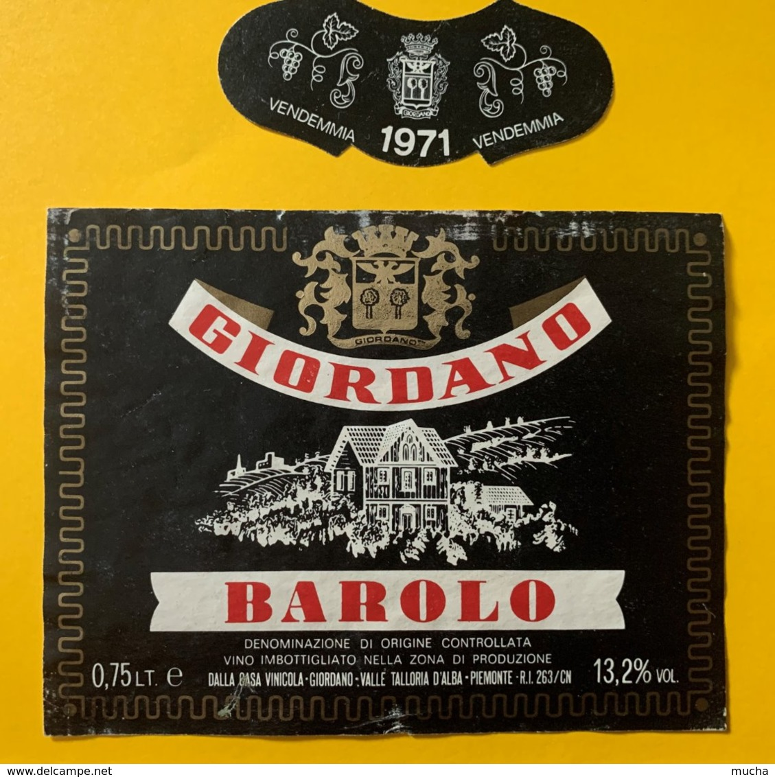 12121 - Barolo 1971 Giordano Italie - Etiquettes