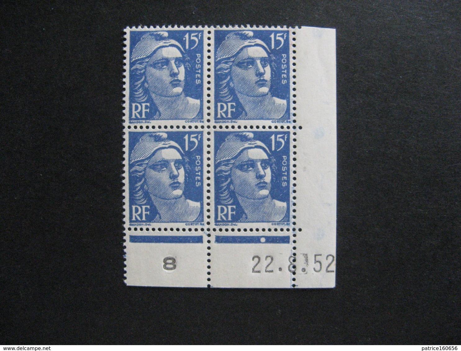 G). Bloc De 4 Coin Daté:  22.08.1952 Du N° 886, Neuf XX . - 1950-1959