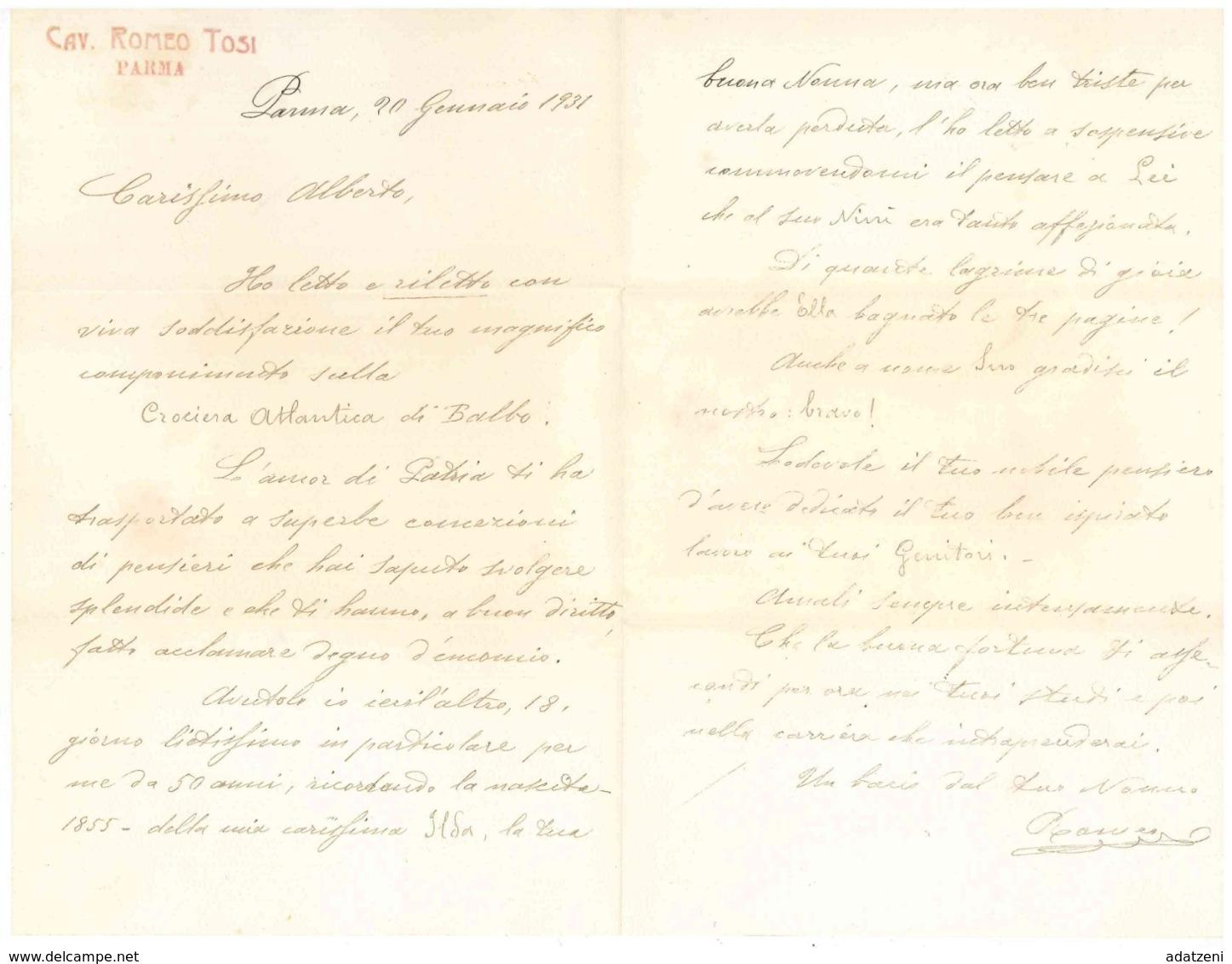 FRA157 BUSTA E LETTERA DEL 20 GENNAIO 1931 DA CAV. ROMEO TOSI  DI PARMA A ALBERTO MARINI PER CONGRATULARSI DEL COMPONIME - Manuscritos