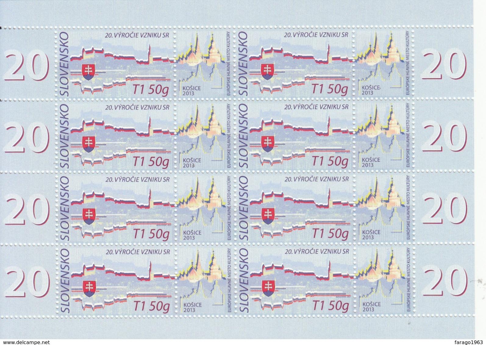 2013 Slovakia 20th Anniversary Of Republic Miniature Sheet Of 8 + Tabs Complete @ BELOW FACE VALUE - Blocks & Kleinbögen