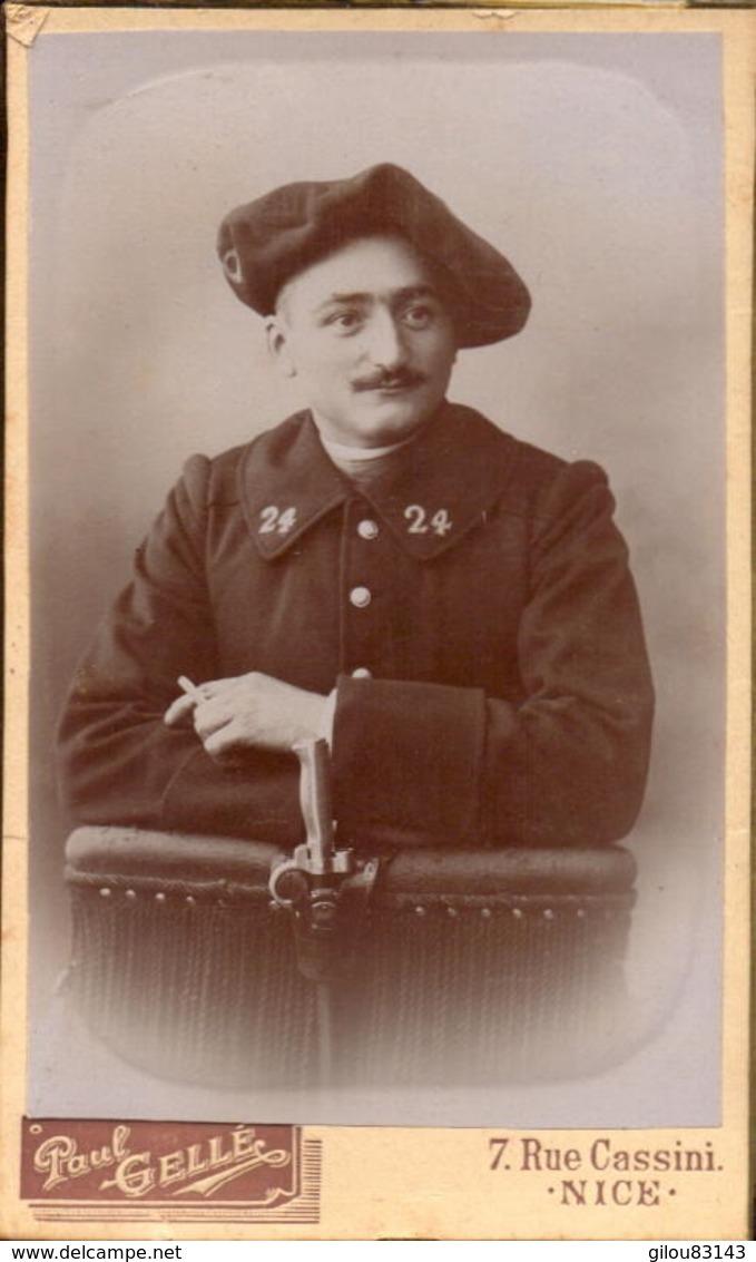 CDV, Militaire, 24e Regiment De Chasseur, Photo Paul Gellé Nice      (bon Etat) - War, Military