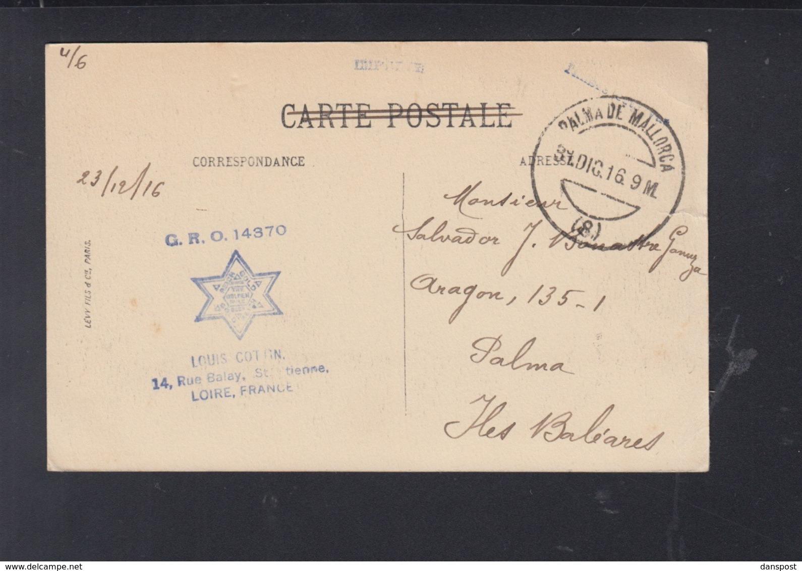 France  CP Saint-Etienne 1916 A Palma - Poststempel (Briefe)